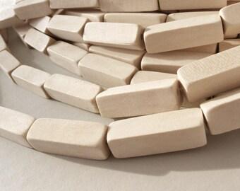6 perles rectangles de bois naturel de 10 x 30mm