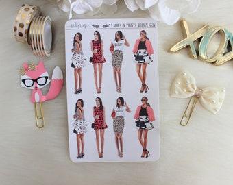 Mini Ladies in Prints, Brown Skin, Planner Stickers