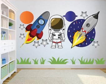 Outer Space - Rocket, Spaceman, Planets and Star wall art sticker/decal for Childrens bedroom, nursery, playroom