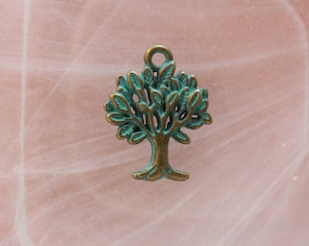 tree charm in verdigris metal bronze