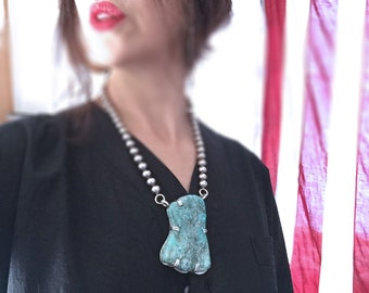 Natural Turquoise Necklace / Silver and Turquoise / Gem Grade Turquoise Statement Necklace