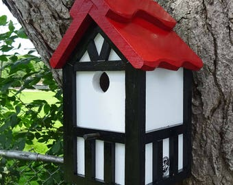Special order for Caroline Painted Bird house/Nesting Box, American Tudor style 5, thatch roof design, , western red cedar, Made in USA,