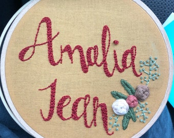 """6 inch Personalized """"Name"""" Embroidery Hoop Art / Hand Embroidered Home Decor / Name Art / Handmade Art / Floral Embrodiery Hoop Art"""