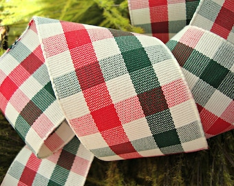 Red Green and Ivory Scottish Christmas Plaid Ribbon