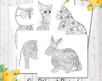 Adult Coloring Page, Woodland Animals, Printable Coloring, Kids Coloring Page, Coloring Book Sheets, Digital Download, Coloring Page Adult
