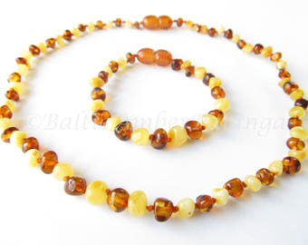 Baltic Amber Teething Necklace and Bracelet/Anklet Set, Rounded Cognac And Mat Color Beads