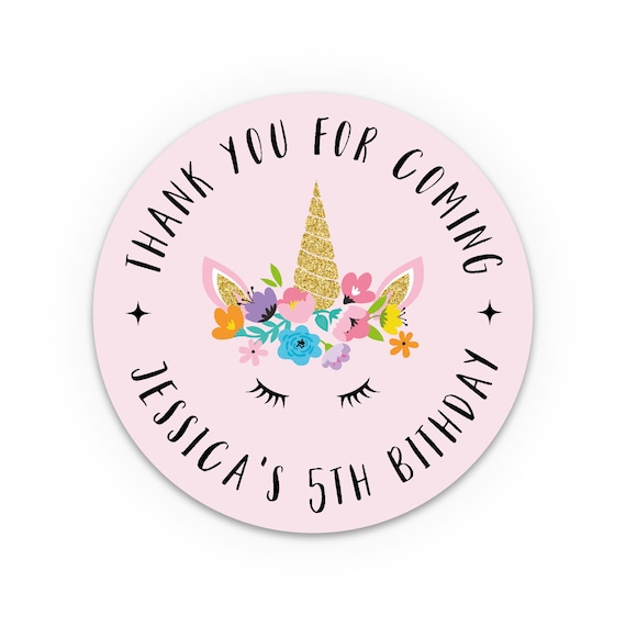 Thank You Stickers Unicorn Party Favors For Kids Birthday Thank You For Coming To My Party Favor Sticker Labels For Party Favours For Kids