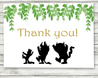 Where The Wild Things Are Thank You Cards, Digital Download,Where The Wild baby Shower Thank You Cards, Printable Thank Yous,Thank You Cards