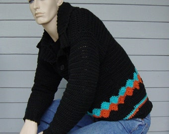 Men's Sweater, Men's Crochet Sweater, Men's Cotton Sweater, Black Sweater, Pullover, Gift for Him, Men's Gift, Available in M and L/XL