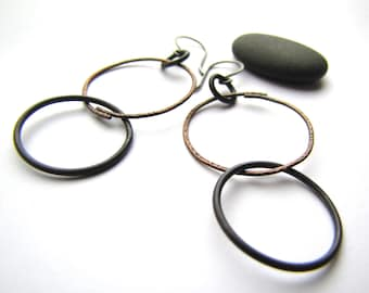 Steel & Copper Circles earrings - made to order