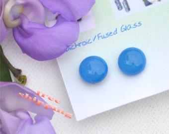 188 Fused glass earrings, smoky blue
