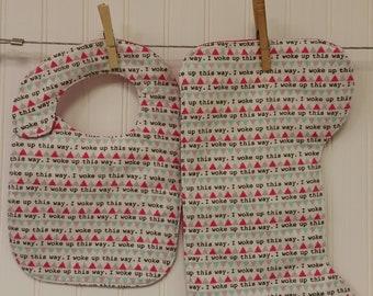 Baby Gift Set, Baby Shower Gift, Bib & Burp Cloth Set