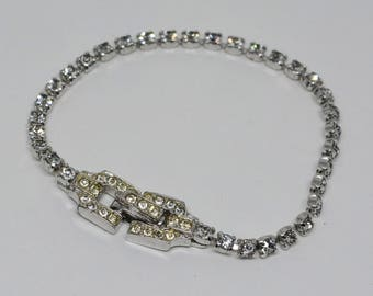 Sparkling Silver tone Bracelet And Crystals