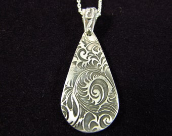 Sterling Silver Necklace/ Antiqued Sterling Silver/ Teardrop Necklace/ Handmade Sterling Silver Necklace/ Victorian Necklace