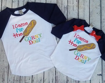 Corny Dog tee, carnival tee, circus shirt, County Fair Shirt, Corn Dog Shirt, Corny Dog shirt, Boys Fair shirt, Girls Fair shirt, Appliqued