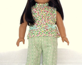 Handmade Doll Clothes Summer Cropped, Green Pants Suit fits 18 inch doll