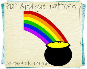 Pot of Gold Applique Template - St Patricks Day Applique Pattern / Baby Quilt Pattern / Toddler Applique Design / DIY Wall Hanging AP158-D