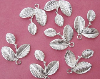 5pcs-Branch Leaf Charm Pendant Connector Sterling Silver Plated.