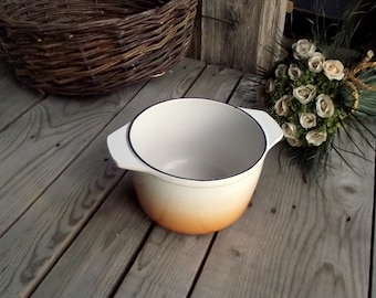 Cast Iron Saucepan - Vintage Fondue Pot - Casserole Pot - French Fondue Pot - Brown and Beige - Nomar - Made in France - With Two Handles