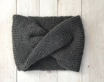 "Knit Turban Headband / Twisted Earwarmer / The ""Soho"" / Color - Charcoal Grey /  soft and warm"