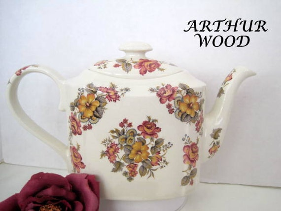 Arthur Wood Teapot, Burgundy Bouquet, Made in England, Collectible  Tea