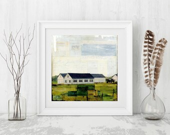 "Farm Print: Mixed Media Photography, Farm Barn Art, Pioneer Valley MA, Mass Art, Farm Garage, 8""x8"" (203mm) or 12""x12"" (304mm) ""At the Farm"""