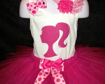 Barbie Birthday Tutu Set Pink and White Sparkle Glitter Great for Birthdays, Photo Props, Parties and Special Events