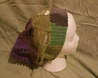 Spinning Summer Slouchy Beanie- Green and Purple