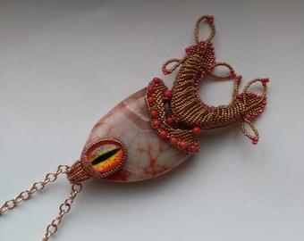 Agate Fish Pendant, Golden Fish for women, Rose Gold, Nautical Statement, Orange Eye, Beadwoven Gemstone - Pisces Zodiac by enchantedbeads