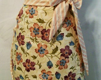 Woman's Pastel Floral with Stripes Lined Skirt Half Apron, Kitchen Apron, Handmade, Gift for Mom, Cooking Serving Apron, USA Made, #39A