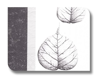 Paper napkin for decoupage, mixed media, collage, scrapbooking x 1.  Gray skeleton leaves. No 1021