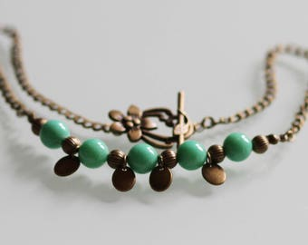 Jade green and bronze Choker