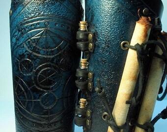 Alchemist bracers, larp, larping, magic, vial, scroll