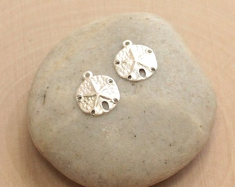 Sterling Silver Sand Dollar Charms -- 2 Pieces Thin Stamping Med Size HBSL731