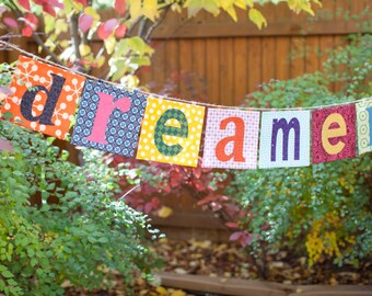 Customizable Name Banner ~ Fabric Word Banner ~ Letter Banner in the DREAMER Collection