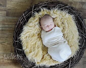 Caramel faux fur newborn photo prop