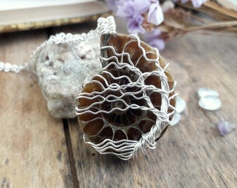 Necklace, tree of life pendant handmade silver and fossil amonite from metal plated copper. Elven, medieval, Bohemian
