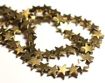20pc - stone beads - Golden Hematite star 8 mm - 8741140015616