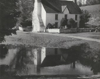 Farmhouse Llanwrda Lake 1950s vintage Print Wales village Old Prints Vintage England