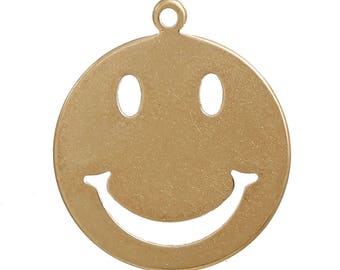 x 1 pendant 10 mm round charm gold tone smile.