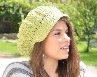 Apple Green Cotton Crocheted Newsboy Hat - Summer Accessories