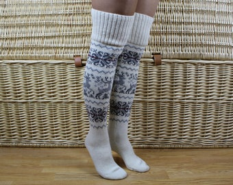 Norwegian wool knee socks, Christmas knit long socks, Winter white knee socks, Deer knee socks, Womens long wool socks, Christmas gift