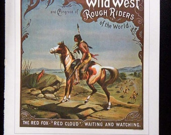 Vintage Buffalo Bills Wild West Rough Riders Circus Poster Bucking Steer Poster Size Book Plate