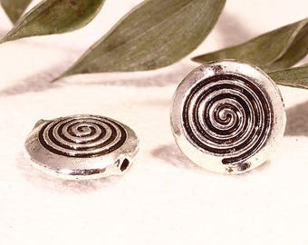 20 beads ethnic 12mm silver spacer metal spiral