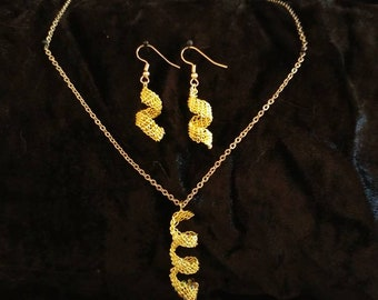 Woven Spiral Earrings and Necklace