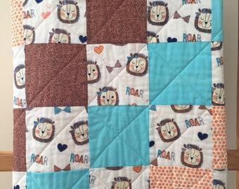 Handmade Baby Quilt, Baby Girl, Baby Shower, Baby Gift, Lions