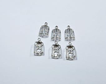 BR69 - Set of 6 bird caged silver metal charms