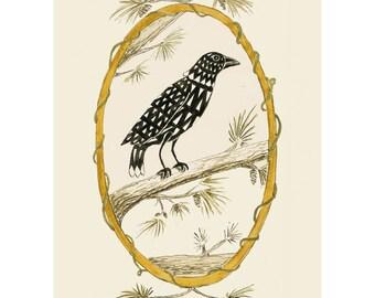 "Folk art frameable greeting card print, ""Raven"""