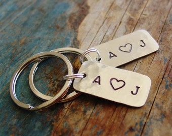 Couples Keychain Gift Set, Set of 2, Small Keychain, Tiny Keychain, Personalized Keychains, Couple Initials, Hand Stamped, Anniversary Gift