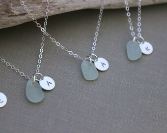 Sterling Silver Genuine Sea Glass Initial Necklaces - Custom Charm Necklace with SeaGlass and Monogram Bridesmaid, Choice Color - Beach